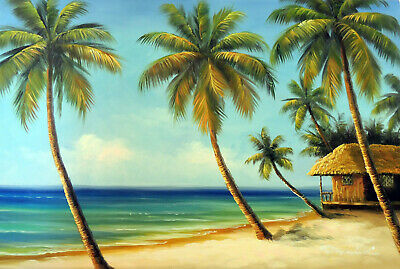 Caribbean Hawaii Beach House Sandy Shore Coconut Palm Stretched Lge Oil Painting
