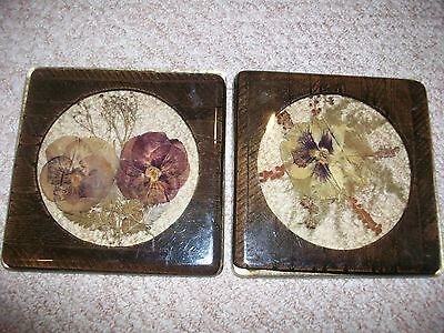 Lot 2 Square Dried Flower Wood Lucite Acrylic Trivets Retro Floral