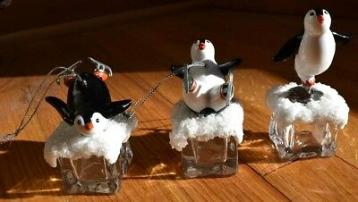Rare New 2015 Trim A Home (Set Of 3) Penguin Ice Cube Christmas Ornaments Scarce