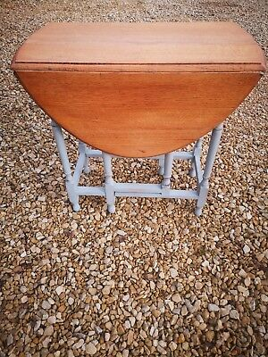 Small Antique Edwardian Solid Oak  Drop Leaf Dining Table  In Sky Gray