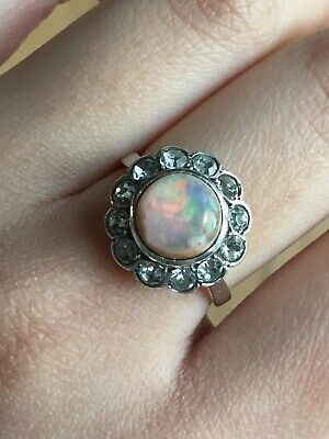 Antique Rare French Hallmark Silver Genuine Opal Paste Cluster Ring -uk Size O