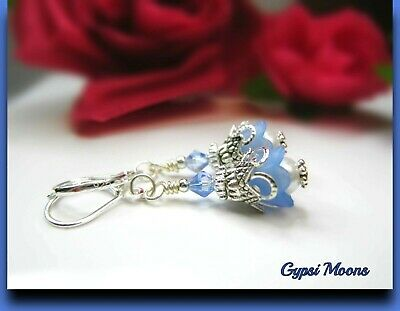 Bell Flower Earrings Small Tulip TEA PARTY Light blue Lucite dangle leverback