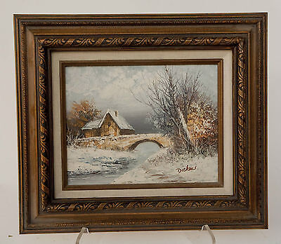 """Vintage Signed """"DICKENS"""" Oil Painting On Board Winters Scene"""