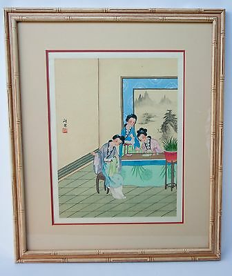 VINTAGE Mid Century Japanese Asian Geisha Watercolor Painting on Silk Signed