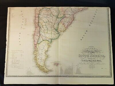 1820s Colombia Prima SOUTH AMERICA Lower Sheet HAND COLOURED MAP Antique RARE