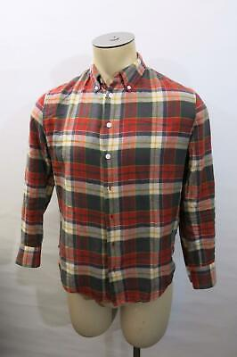 c2317ab52 BAND OF OUTSIDERS Red Flannel Button Down Shirt 0 XS X-Small - $7.99 ...
