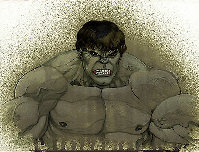 "Original HULK Water Color Painting signed by LEE OAKS Marvel Comics 9""X12"""
