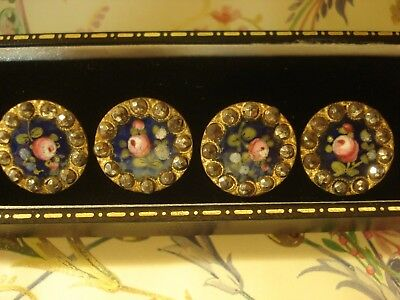 Beautiful Matching Set 4 Early Victorian Hand Painted Enamel & Cut Steel:Buttons