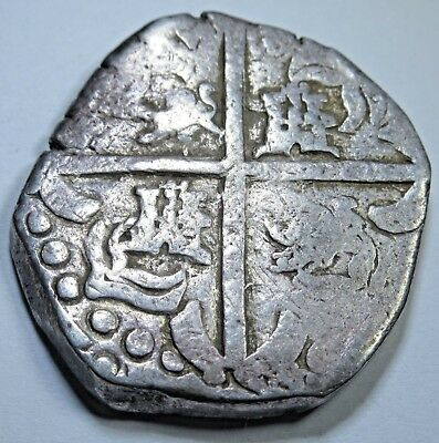 1600's Spanish Silver 8 Reales Transposed Lions & Castles Eight Real Cob Coin