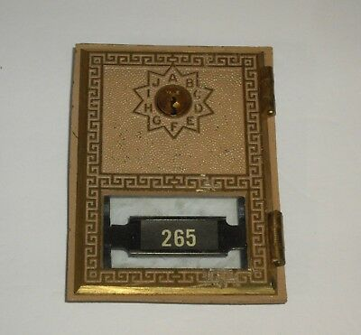 Vintage 1974 Federal Greek Key Brass/Glass Post Office Box Door Made in the USA