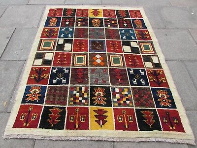 Traditional Tribal Hand Made Persian Gabbeh Oriental Red Blue Wool Rug 193x155cm