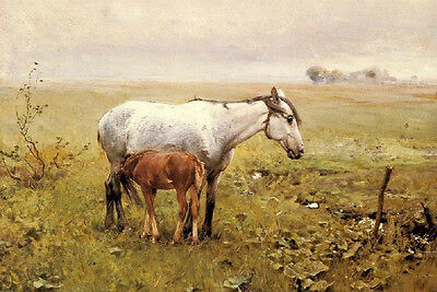 Art Oil painting animals horses A Mare and her Foal in a landscape canvas