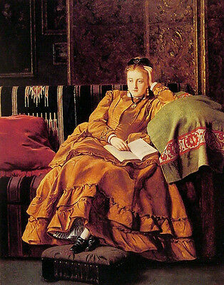 Oil painting nice young noble woman wearingyellow cloth seated - Reflection art