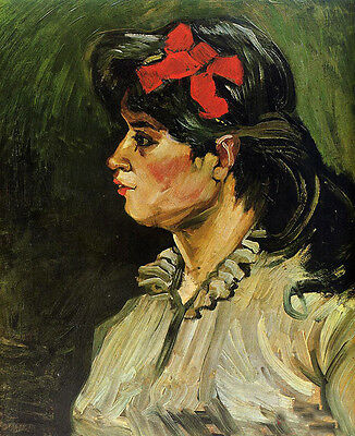 Art Oil painting Vincent Van Gogh - Portrait of a Woman with Red Ribbon