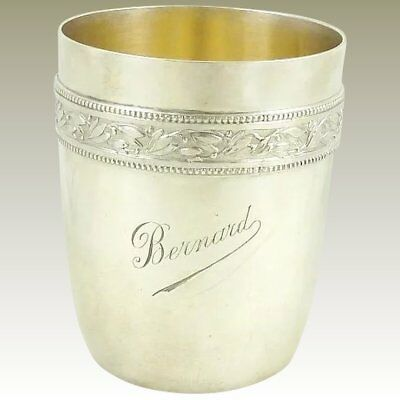 """Antique French Sterling Silver Cup Timbale Goblet By Gustave Keller """"bernard"""""""