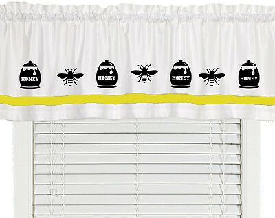 Bee Honey Pot Window Valance Curtain ..Your Choice of Colors*