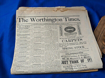 1883 The Worthington Times Indiana Antique Newspaper History Advertising VTG