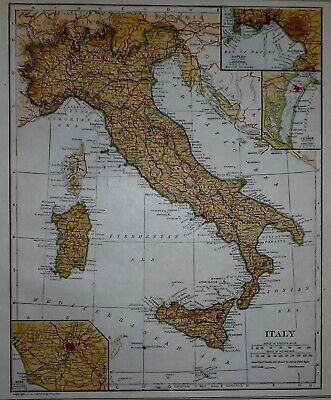 Antique 1921 Atlas Map Post World War WWI Italy, Rome, Naples & Australia L@@K!