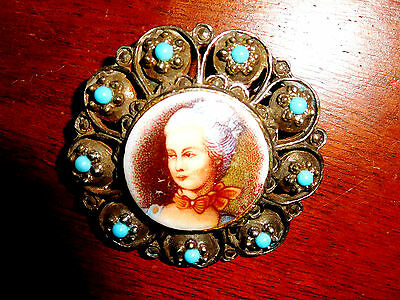 Vtg Antique Elaborate Turquoise Victorian Lady Portrait Old Brooch Pin Pendant