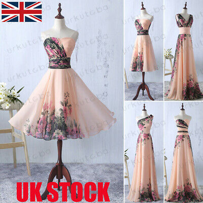 UK Women V-Neck Evening Party Ball Prom Gown Formal Cocktail Wedding Dress NEW