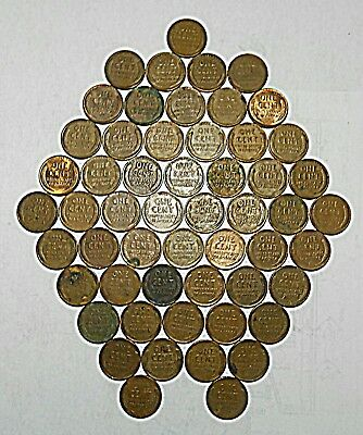 Lot of 55 VTG Antique Wheat Pennies PDS One Cent Lincoln Copper Must See List