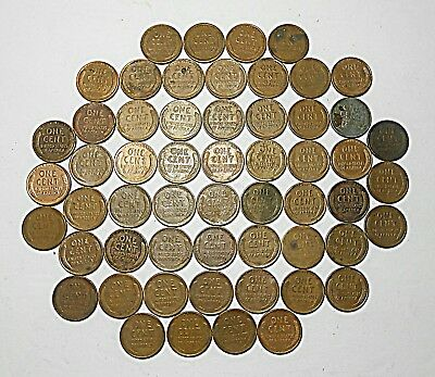 Lot of 65 VTG Antique Wheat Pennies PDS One Cent Lincoln Copper Must See List
