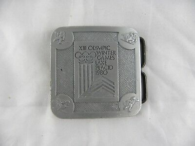 Vintage 1980 TRUE DISTANCE Lake Placid Winter Olympic Games Pewter Belt Buckle
