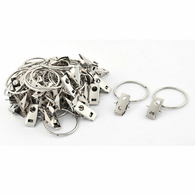 Home Stainless Steel Window Curtain Clip Hooks Drapery Rod Rings 40pcs