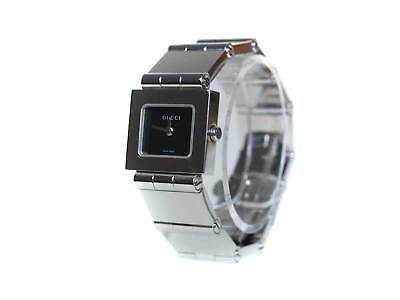 8c83240c0c3 Auth GUCCI 600L Black Dial Stainless Steel Band Women s Watch GW9616L