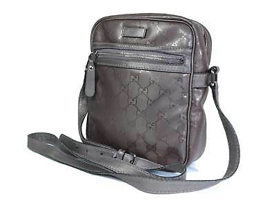 718321c960ee83 Auth GUCCI Imprime PVC Canvas Leather Cross-Body Shoulder Bag GS16186L