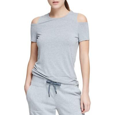 dc0ef593a0 DKNY Sport Womens Gray Cold Shoulder Fitness Pullover Top Athletic M BHFO  9254