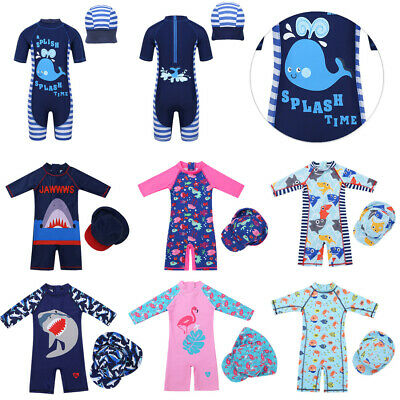 Kid Baby Summer Short Sleeve Swimsuit Rash Guard Shark Swimwear Costume&Swim Cap