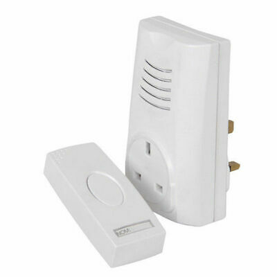 Wireless Cordless Remote Plug In Socket White Door Bell Chime (16 Melodies)