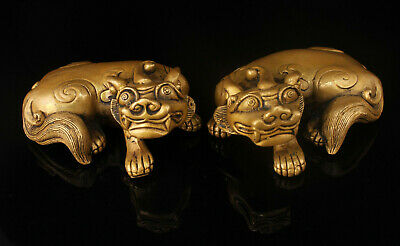 A Pair China Hand-carved Brass Attract wealthPi Xiu Statue Home Decoration