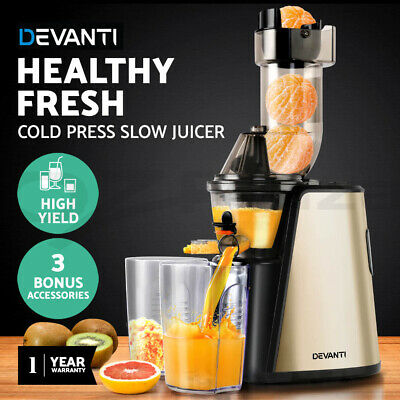 Devanti Cold Press Slow Juicer Whole Fruit Stainless Steel Processor Mixer Gold