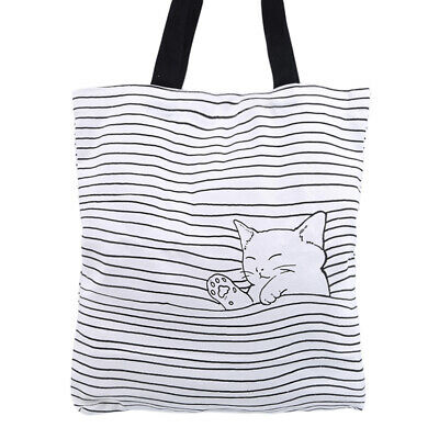 Women Fashion Canvas Striped Cat Print Handbag Shoulder Bag Shopping Bag CB
