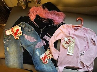 Girls 3 Piece Outfit Age 7 BNWT By Magilla Mini Kids Denim Lace And Pink Fur