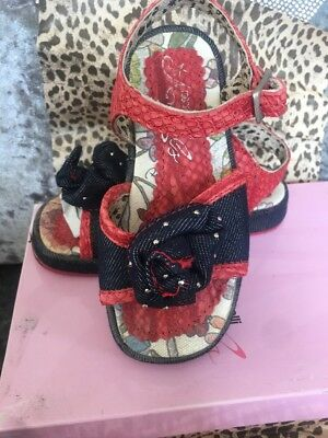 Roberto Cavalli Little girls sandals Denim And Red Leather Size 26 Cost £72