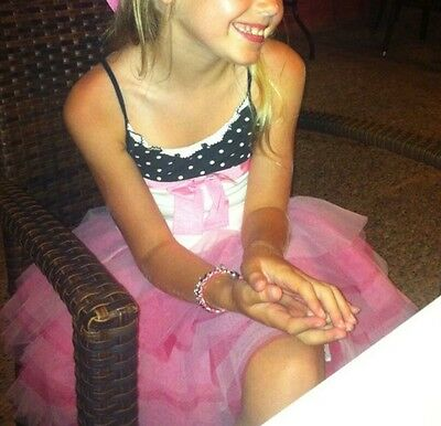 Stunning Monnalisa  Pink Layered Net Skirt And Coordinating Top Age 8