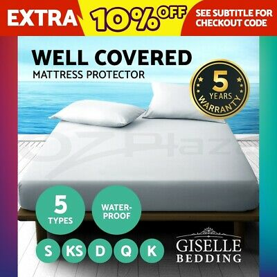 Giselle Bedding Waterproof Cotton Bamboo Fibre Mattress Protector Cover All Size