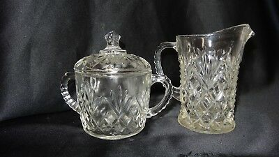Anchor Hocking Pineapple Clear Glass Cream and Lidded Sugar Bowl Set