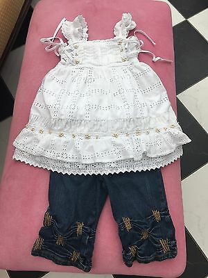 mayoral girls Two Piece Outfit Jeans & White Boho Style Top Age 3