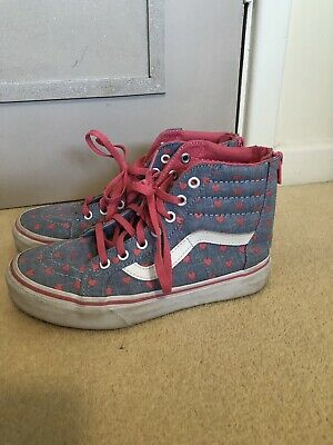 ccc0be980cd102 Girls Blue   Pink Vans Shoes Trainers Pumps Hi Tops Junior Size 2.5 Hardly  Worn