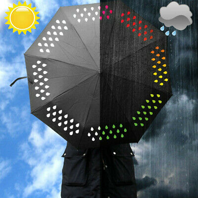3-Fold Colour Changing Umbrella Waterproof  Travel Compact Printed UV Sun Rain