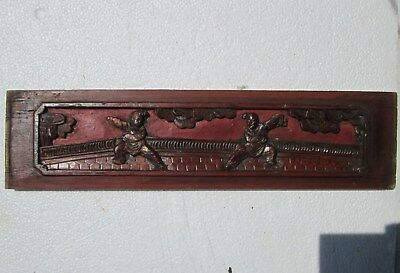 Antique 19CT Chinese Carved Wood Red & Gilt Bed Panel 2 Ladies Fight on Terrace