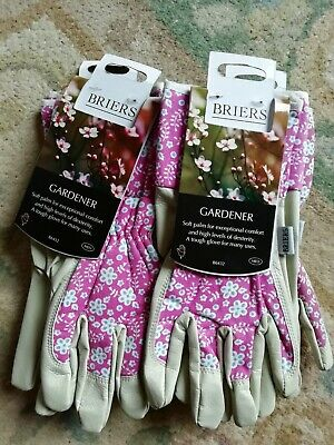 BRIERS LADIES  PINK FLORAL SYNTHETIC LONG CUFF GARDEN GLOVES 4 x PAIRS