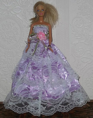 Barbie Sindy Doll Dress Ball Gown, Prom, Lace, Lilac, Clothing - Beautiful