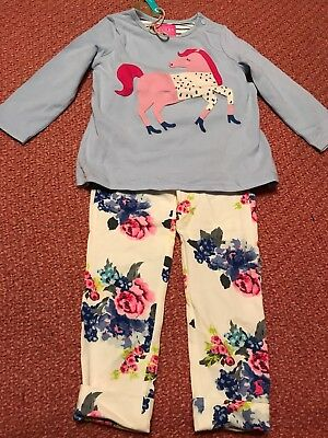 JOULES BABY GIRL HORSE TOP & FLORAL LEGGING SET SIZE 12-18mths BNWT