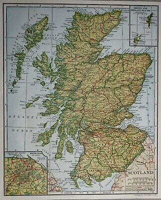 Antique 1921 Atlas Map Post World War WWI Scotland + Edinburgh, England & Wales