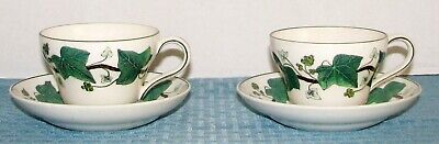 2 Wedgwood Eng Napoleon Ivy Green (Queen's Ware) Footed Cup & Saucer Sets - VGD